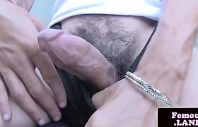 TS debutante masturbates outdoors in closeup