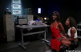 Black TS scientist anal fucks sex robot
