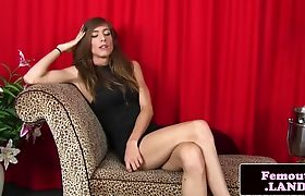 Glamour trap masturbates on couch