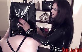 Kinky tgirls spitroast male slave