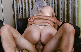 Busty shemale anal banged while jerking until she cums