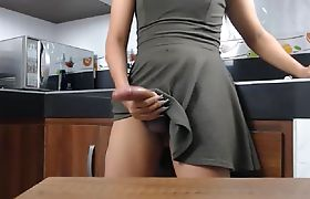 Asian TS Beauty Cumming On The Dinner Table