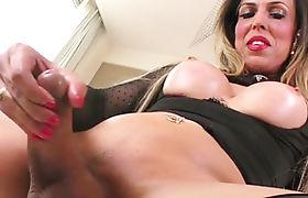 Shemale Fernanda Khelher toys ass and jerk off her hard cock