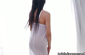 Transbabe Fanny sizzles up by fapping her Asian dick in erotic scene