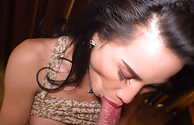 Tattooed Asian tranny sucked a boyfriends big cock