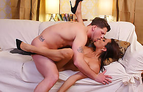 Busty latina shemale sucked and analed by her bfs big cock