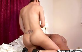 Busty tranny pounding tight ass in trio
