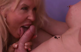 Glamorous busty GILF fucked by an ugly shemale slut