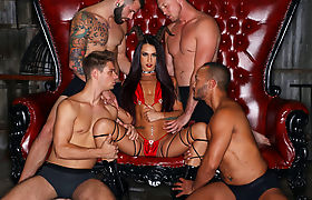 Sexy TS Khloe Kay ganged and double penetrated by 4 guys