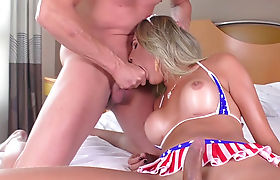 Horny Busty TBabe Bella Trix gets anal with cumshot