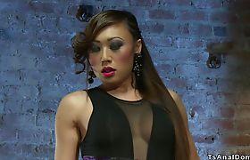 Big cock Asian shemale anal fucks sub