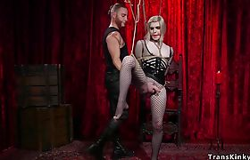 Bound shemale slave anal fucked