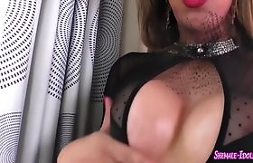 Busty shemale jerking her large wang