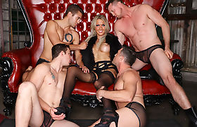 Sexy shemale blonde throats and barebacked by four big dicks