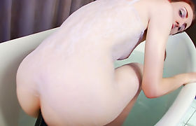 Very tiny tits tranny Jelena Vermillion anal toys in the tub