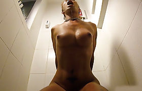 Ladyboy with big tits pissed in her mouth and a blowjob