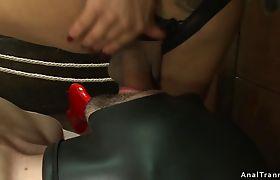 TS fucks male in gimp mask and bondage