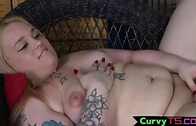 Trans BBW teases her asshole while wanking