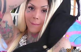 Inked up shemale toys her sexy ass