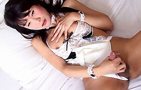 Busty Asian shemale passion played with her big bannana