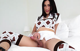 Busty Asian TS Patty let dude fucks hard her butthole