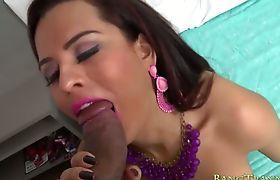 Luscious tranny Alesandra sucks cock and anal pounded