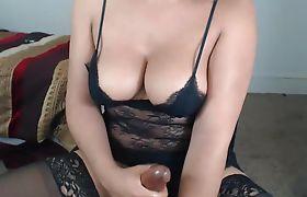 Busty Tranny Jerking Off On Webcam