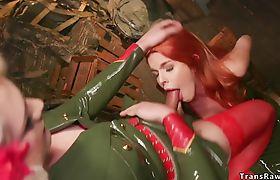 Shemale soldier in latex fucks redhead spy