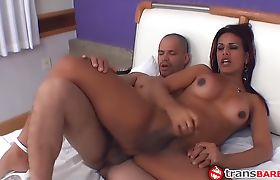 Horny TS bitch has a hot fuck with a black guy