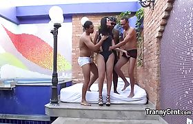 Tranny enjoyed fucking three big cocks