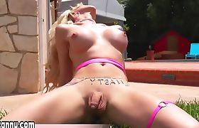 TS Aubrey Kate teaches her lover to take a cock BB
