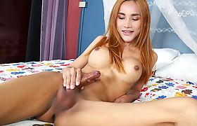 Ladyboy Hippo Enjoys Stroking Her Cock