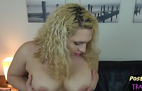 Curvy trans babe filmed while masturbating