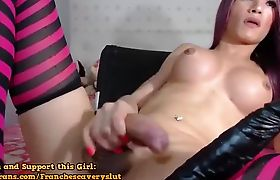 Sexy Pink TS Beauty Solo Cock Jacking
