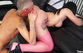 Wild Italian sex with naughty brunette Brazilian tranny Kelly Cesario