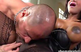 Tanned Tgirl Jennifer Rios in hardcore anal sex and cum feast