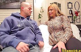 Doggystyled bigass tgirl jizzed on big boobs