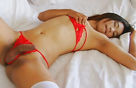 Cute Asian Tgirl New Strokes Her Shecock