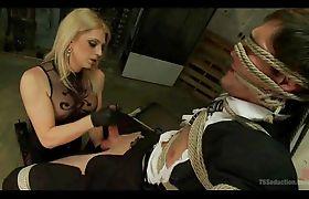 TS Mistress Dominates Bound Slave