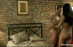 Fucked in the gaping ass by huge shemale cock