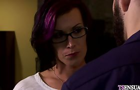 Mature shemale teacher anal fucked by an angry student