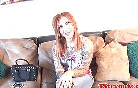 Tattooed casting tgirl spreads her legs
