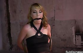 Smalltits gagged sub intensively toyed by dom