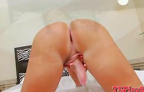 Big titted mature tranny Carla strokes her fat cock in bed