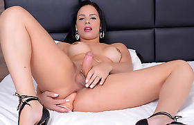 Hot Shemale Bruna Castro Stretches Her Sweet Asshole with a Dildo