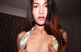 Young petite Thai ladyboy blowjob and anal cowgirl ride
