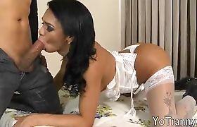 Naughty feminine Latina tgirl in white stockings analized