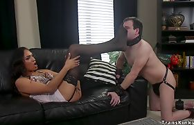 Busty tranny fucks male in the morning