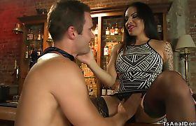 Busty shemale bartender anal fucks man