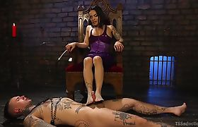 Welcome to TS Foxxy's Dungeon where submissive pain slave Ruckus is ready to serve!
